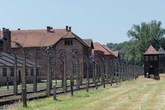 Auschwitz baracker och vakt Towers arkivfoto