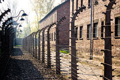 Auschwitz Barbed Wire. A double row of barbed wire separated the barracks of the prisoners and the house of the guards in the concentration camp Auschwitz in Stock Photo