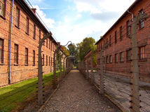 Auschwitz. Barracks in a concentration camp stock photography