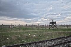 AUSCHWITZ-BIRKENAU,波兰- 2017年4月18日;浩劫纪念品 库存照片