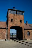 Auschwitz-Birkenau. Camp in Poland. Picture of the main entrance to the camp. Blue sky in the background Stock Images