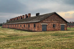 Auschwitz-Birkenau barack Arkivfoton