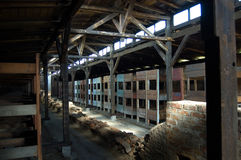Auschwitz Birkenau Barrack Wooden Beds. Auschwitz-Birkenau Poland : A reconstruction of the barracks and the beds in the concentration camp Birkenau a few miles Stock Photo