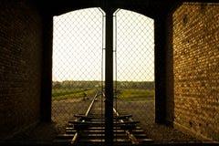 Auschwitz-Birkenau Concentration Camp. Entrance of the Nazi Auschwitz-Birkenau concentration camp Royalty Free Stock Photos