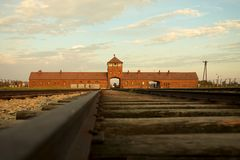 Auschwitz-Birkenau Concentration Camp. Entrance of the Nazi Auschwitz-Birkenau concentration camp Stock Photo