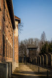 Auschwitz-Birkenau concentration camp, Poland. Electric fence in former Nazi concentration camp Auschwitz I, Poland. Auschwitz-Birkenau concentration camp for Stock Image
