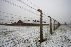 Auschwitz - Birkenau em Polland no inverno fotos de stock
