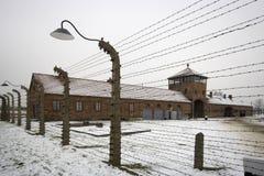 Auschwitz - Birkenau en Polland en invierno Foto de archivo libre de regalías