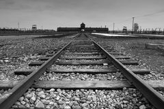 Auschwitz - Birkenau entrance Royalty Free Stock Image