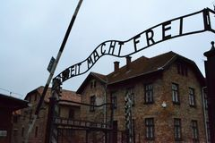 Auschwitz Birkenau II Concentration Camp Arbeit Macht Frei Sign stock photo