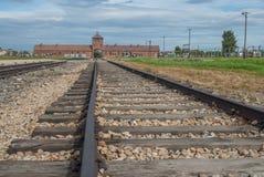 Auschwitz - Birkenau järnväg linje royaltyfri bild