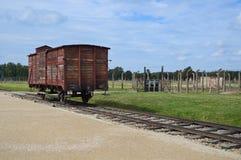 Auschwitz Birkenau Museum. OSWIECIM, POLAND - SEPTEMBER 19, 2015: Deportation wagon at Auschwitz Birkenau at Auschwitz Birkenau concentration camp, Poland Royalty Free Stock Photo