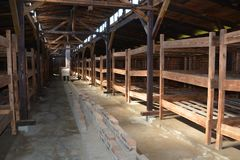 Concentration camp interior barrack Stock Image