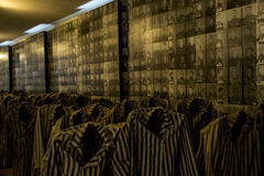 Auschwitz Birkenau Poland 10.05.2015 - Prisoners at KZ concentration camp uniforms Royalty Free Stock Images