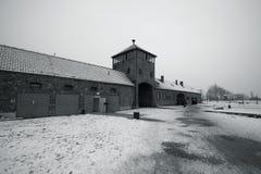Auschwitz - Birkenau in Polland in de winter Stock Foto's