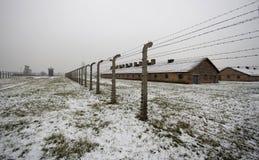 Auschwitz - Birkenau in Polland in de winter Stock Fotografie