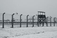 Auschwitz - Birkenau in Polland in de winter Stock Fotografie