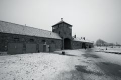 Auschwitz - Birkenau in Polland in winter Stock Photos