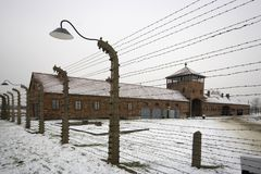 Auschwitz - Birkenau in Polland in winter Royalty Free Stock Photo