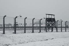 Auschwitz - Birkenau in Polland in winter stock photography