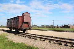 Auschwitz--Birkenaukonzentrationslagerzug Stockbilder