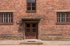 Auschwitz Building Entrance. Front of building at Auschwitz Concentration Camp, Poland Stock Image
