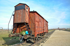 Auschwitz camp. Train carriage from the auschwitz camp in Poland Stock Image