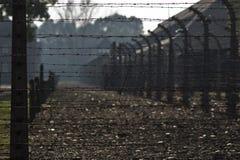 Auschwitz concentration camp. View through barbed wire in Auschwitz concentration camp Stock Photography