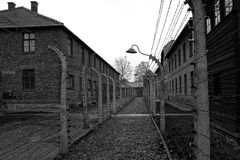 Auschwitz concentration camp. Fence of Auschwitz concentration camp in Poland royalty free stock photos