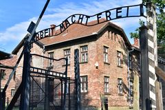 Auschwitz Concentration Camp. Arbeit Macht Frei sign at the main gate of Auschwitz concentration camp Poland Stock Photography
