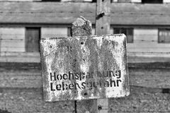Auschwitz Concentration Camp. Danger of death warning sign at Auschwitz concentration camp, Poland Royalty Free Stock Photo