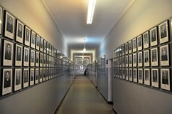 Auschwitz concentration camp. Hall with the picture of the victims of nacist holocaust in Poland Royalty Free Stock Photos