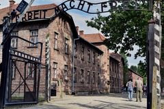 Auschwitz Concentration Camp. The infamous entrance sign at Auschwitz , Arbeit Macht Frei - Work sets you free Stock Images