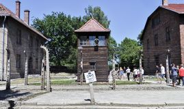 Auschwitz Concentration Camp Museum -  Danger of death sign, Fences, Barbed Wire and mirador. July 7th, 2015.  Royalty Free Stock Photography