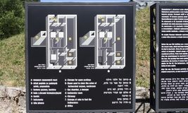 Auschwitz Concentration Camp Museum - Gas Chambers map. July 7th, 2015.  stock photography