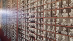 Auschwitz Concentration Camp Museum - Wall with pictures of the victims/prisoners. On the July 7th, 2015.  Royalty Free Stock Photos