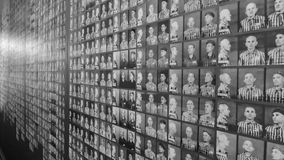 Auschwitz Concentration Camp Museum - Wall with pictures of the victims/prisoners. On the July 7th, 2015. Black and white Stock Photography