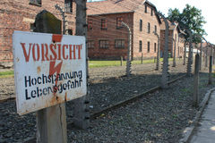 Auschwitz concentration camp in poland.  Stock Photo