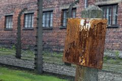 Auschwitz concentration camp in poland stock images