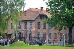 Auschwitz concentration camp. Auschwitz concentration and working camp, its famous gate Arbeit macht frei, Poland Stock Images