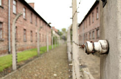 Auschwitz - Electric fence. Picture inside Auschwitz I museum: electric fence Stock Images