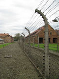 Auschwitz - Electric fence in prison. Picture inside Auschwitz I museum: electric fence and barbed wire Royalty Free Stock Photography