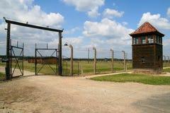 Auschwitz entrance. Auschwitz Birkenau concentration camp in Poland Royalty Free Stock Photo