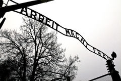 Auschwitz entrance gate. The original main entrance gate to Auschwitz concentration camp, Poland, photographed a week before it had been stolen Stock Photo