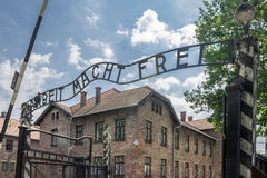 Auschwitz Entrance. The entrance sign of Auschwitz, Arbeit Macht Frei, the work will set you free and the brick buildings, south of Poland Royalty Free Stock Photos
