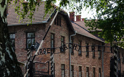 Auschwitz Entrance. The entrance sign of Auschwitz, Arbeit Macht Frei, the work will set you free and the brick buildings, south of Poland Stock Image