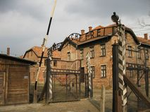 Auschwitz Gate. Of the concentration camp in Poland Royalty Free Stock Images