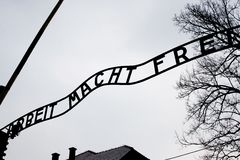 Auschwitz gate entrance. Photo of Auschwitz camp Stock Photography