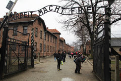 Auschwitz gate. The gate of the jews concentrantion camp of auschwitz in poland Stock Photo