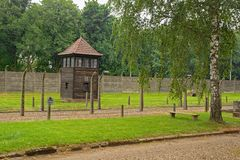 Auschwitz Grounds. Oswiecim, Poland - July 11th 2018. A watch tower in the Auschwitz concentration camp in Poland Stock Photography